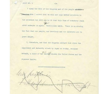 Draft No. 1 of 8 December 1941 War Message to Congress (page three of three)