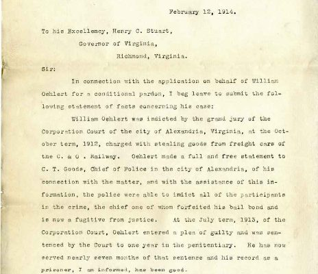 Letter from Howard W. Smith, dated 12 February 1914, to Governor Henry C. Stuar