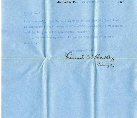 Letter from Judge Louis C. Barley, dated 13 February 1914, to Governor Henry C. Stuart