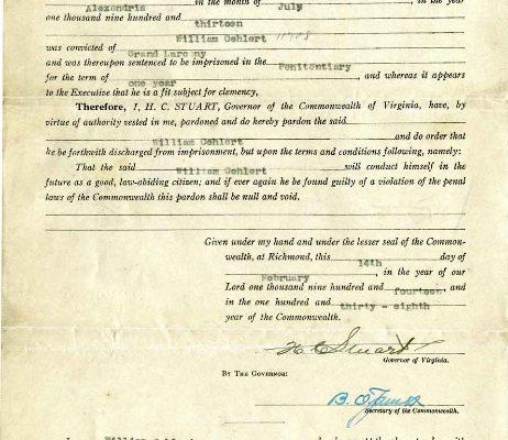 Pardon of William Oehlert, 14 February 1914