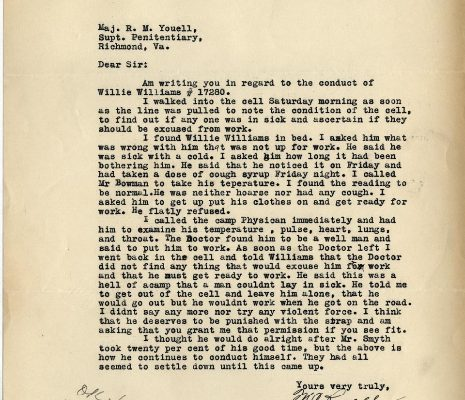 Letter from Sgt. M. C. Russell, dated 1 January 1934, to Superintendent R. M. Youell