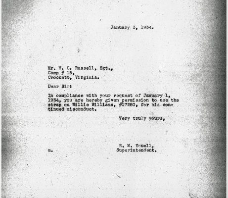 Letter from Superintendent R. W. Youell, dated 3 January 1934