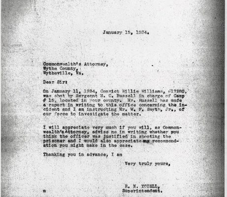 Letter from Superintendent R. W. Youell, dated 15 January 1934, to Wythe County Commonwealth Attorney