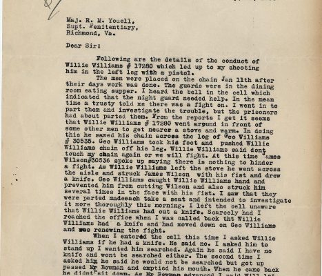Letter from Sgt. M. C. Russell, dated 12 January 1934, to Superintendent R. W. Youell, Page 1