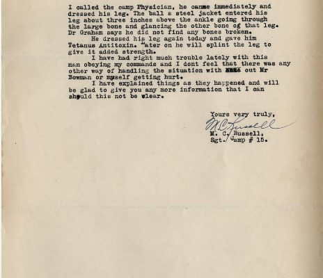 Letter from Sgt. M. C. Russell, dated 12 January 1934, to Superintendent R. W. Youell, Page 2