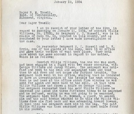 Letter from  William B. Kegley to Superintendent R. W. Youell, dated 19 January 1934, Page 1