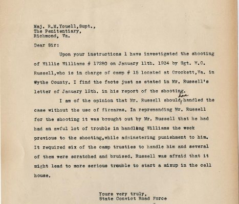 Letter from W. F. Smyth, dated 17 January 1934, to Superintendent R. M. Youell,
