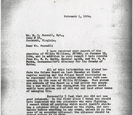 Letter from Superintendent R. M. Youell, dated 1 February 1934, to Sgt. M. C. Rusell
