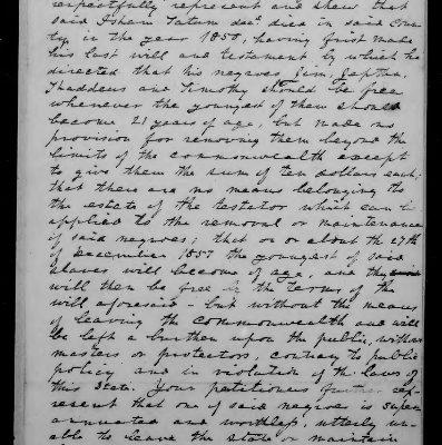Page 1, Tatum, Nathaniel & Isham: Petition, Madison County, 10 December 1857, Legislative Petitions