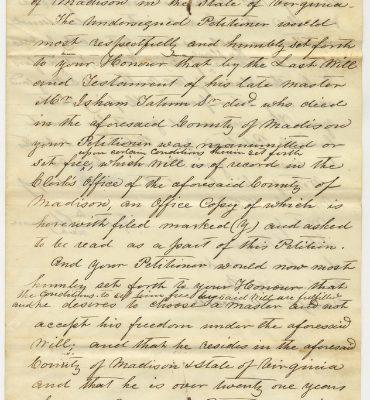 Jeptha Chapman petition, page 1