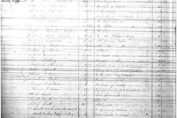 Inventory, Elizabeth Gordon, Orange County Court, Will Book 12, 1852-1864