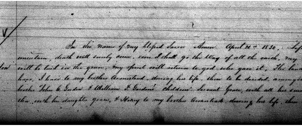 Will of Elizabeth Gordon, Orange County Court, Will Book 12, 1852-1864