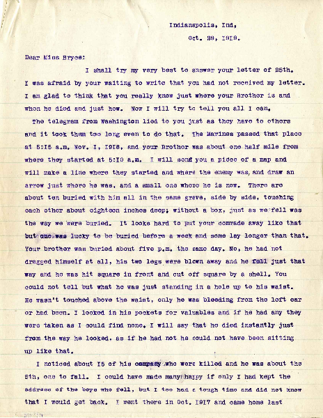 Letter from A.E. Carnes, dated 29 October 1919, to Jeannette Bryce, Bryce Questionnaire, page one of two.