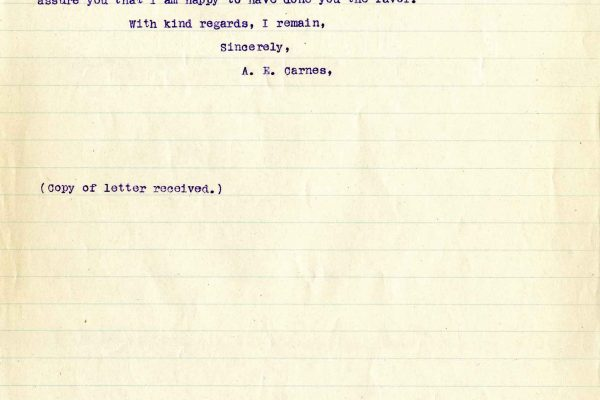 Letter from A.E. Carnes, dated 29 October 1919, to Jeannette Bryce, Bryce Questionnaire, page two of two.