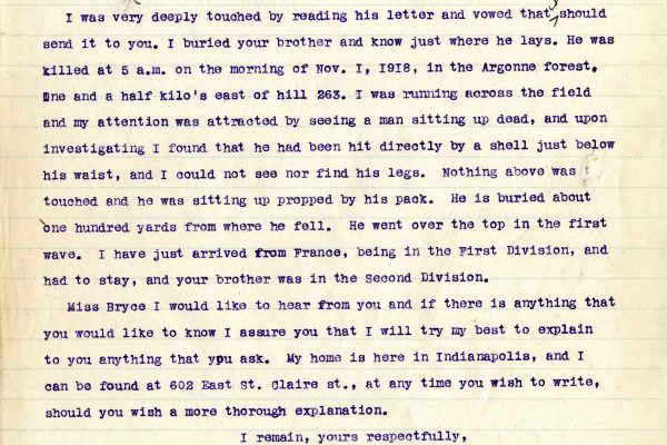 Letter from A. E. Carnes, dated 20 October 1919, to Jeannette Bryce