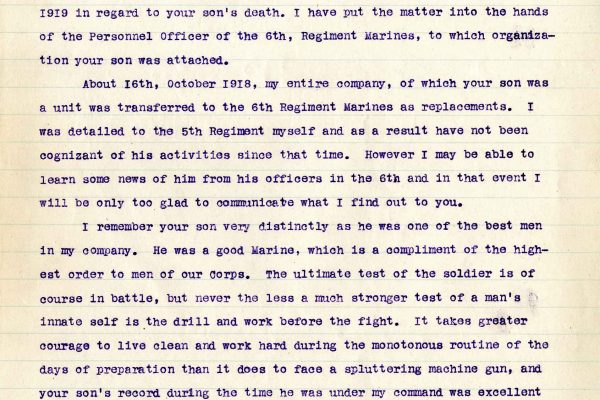 Letter from 1st Lt. Robert K. Ryland, dated 15 March 1919, to Dr. Clarence A. Bryce, Page 1