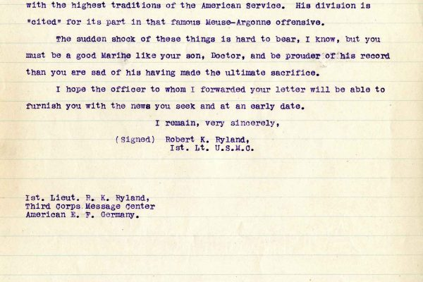 Letter from 1st Lt. Robert K. Ryland, dated 15 March 1919, to Dr. Clarence A. Bryce, Page 2
