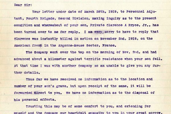 Letter from Capt. Lloyd B. Dysart, dated 19 April 1919, to Dr. Clarence A. Bryce,