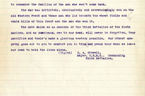 Letter from Major G. A. Stowell, dated 12 July 1919
