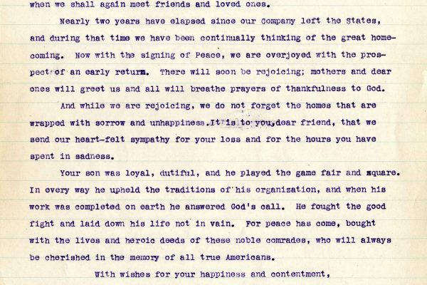 Letter from 2nd Lt. Lawrence W. Eskelson, et. al., dated 15 July 1919