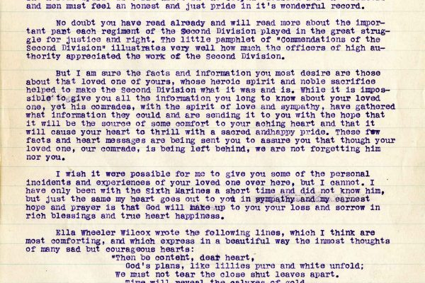 Letter from Chaplain Edward S. Curris, dated 9 July 1919