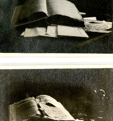 Photo of vestry book found in Brunswick Co. courthouse, c1916.