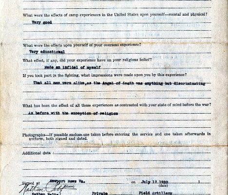 Page 2, Questionnaire of Nathan Peltz, Virginia War History Commission.