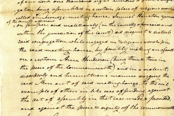 Ann Henderson v Samuel Houston, August 1805, Judgments, Rockbridge County, box 15, Local Records Collection, Library of Virginia.