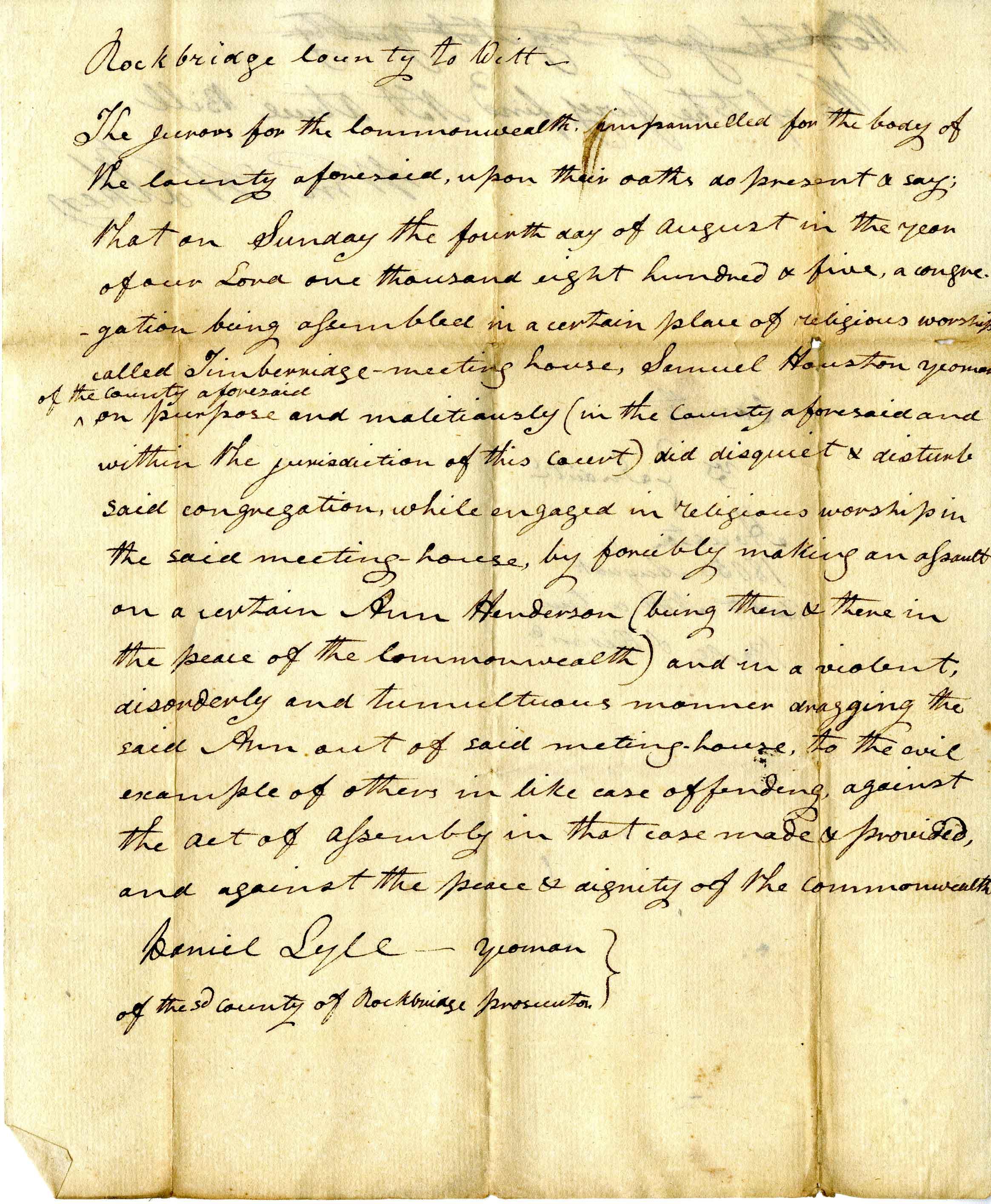 Ann Henderson v Samuel Houston, August 1805