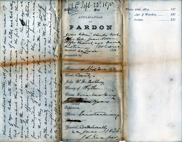 Jacket of Application for Pardon of James Gibson, Charles Tosh