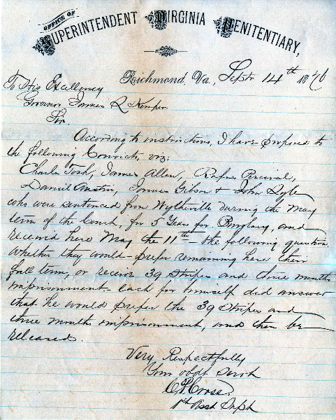 Letter from C. P. Cross, dated 14 September 1876, to Governor James L. Kemper, Application for Pardon of James Gibson