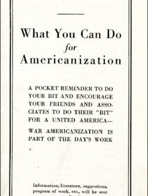 National Americanization Committee brochure, ca. 1918, Legal Handbook, ca. 1918, Box 262, Folder 18. Virginia War History Commission, Series XIV: Second Virginia Council of Defense, 1917-1921, 1923-1924. Accession 37219, State Records Collection, The Library of Virginia.