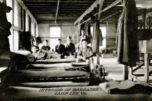 """Interior of Barracks Camp Lee, VA."""