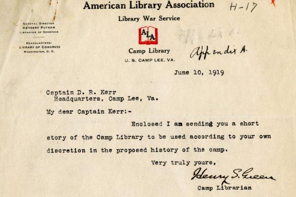 """""""Henry S. Green to Captain D. R. Kerr, Letter, June 10, 1919"""""""