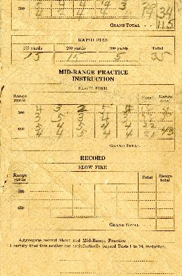 """""""Score Card, Known-Distance Rifle Practice"""", Page 2"""