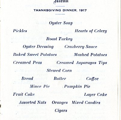 """Battery D, 314th Field Artillery, N.A., Thanksgiving, 1917, Menu, Camp Lee, VA"", Page 2"