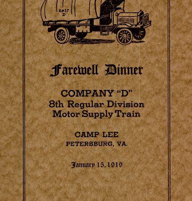 """Company 'D', 8th Regular Division Motor Supply Train, Farewell Dinner Program, Camp Lee, VA, January 15, 1919"""