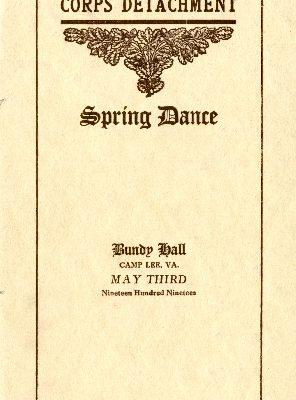 """Quartermaster Corps Detachment Spring Dance Program, Camp Lee, VA, May 03, 1919"""