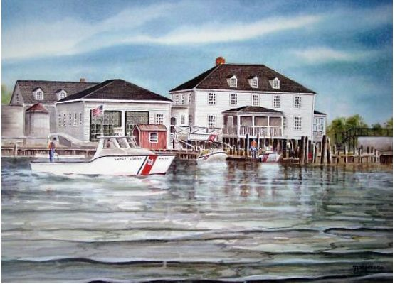 Painting of second (western) Lifeguard Station by Thelma J. Peterson  -  Copyright © 2004. http://www.thelmapeterson.com/life_saving_detail.asp?print=38&aProof=no
