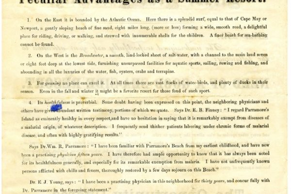 Advertisement, p. 2. Accomack County, Chancery Cause, 1876-038, William McGeorge, Jr. etc. versus Talmadge F. Cherry, etc. Local Government Records Collection, Library of Virginia, Richmond, VA.