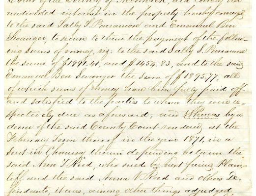 Deed, p. 3. Accomack County, Chancery Cause, 1876-038, William McGeorge, Jr. etc. versus Talmadge F. Cherry, etc. Local Government Records Collection, Library of Virginia, Richmond, VA.
