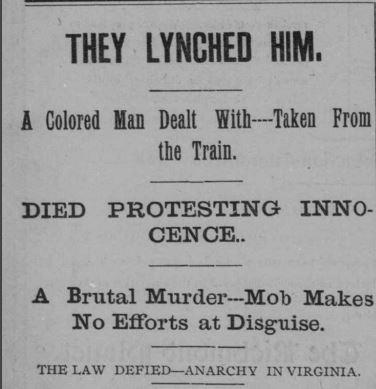 Richmond Planet headline, July 16, 1898