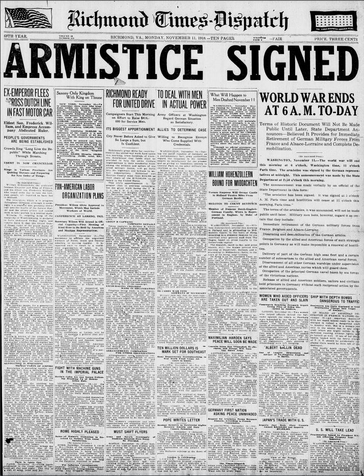 From Virginia Chronicle, One Century Ago: Three Dailies & Four Weeklies Report the End of the Great War