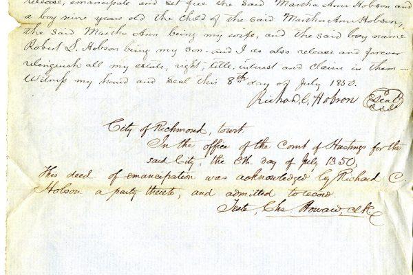 Deed of Emancipation, Richard Hobson