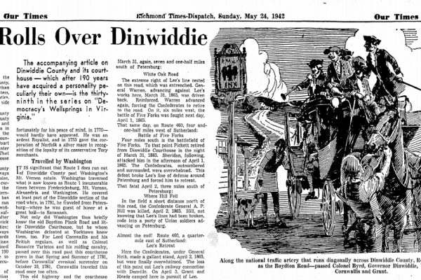 "Elwood Street, ""History Rolls Over Dinwiddie"", Richmond Times-Dispatch, 24 May 1942."