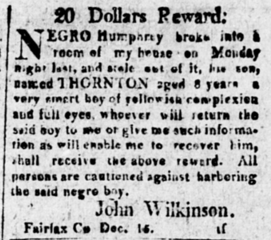 Stealing Freedom: The Fairfax Slave Who Liberated Himself and His Son