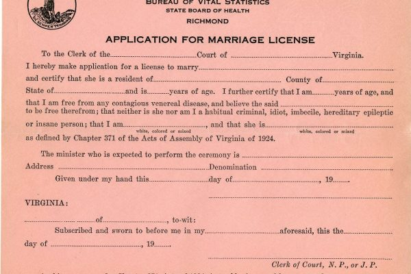 Sample marriage license. State Government Records Collection, Library of Virginia, Richmond, Va.