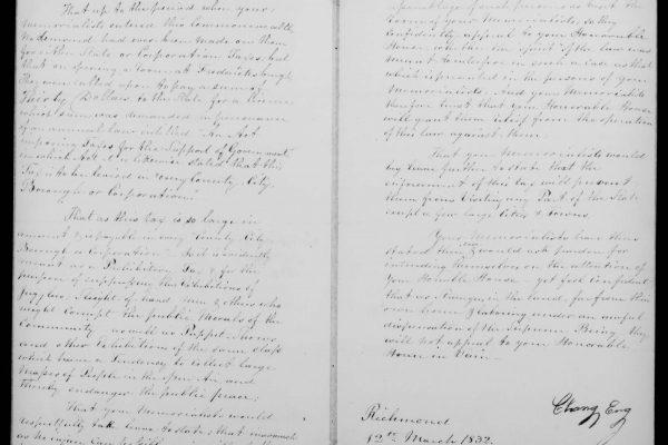 Chang & Eng: Petition, 1823, Legislative Petitions Digital Collection, Library of Virginia, Richmond, Va.