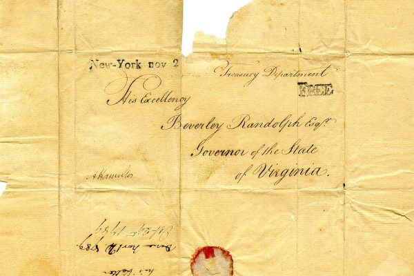 Alexander Hamilton to Beverly Randolph, October 29, 1789, Envelope