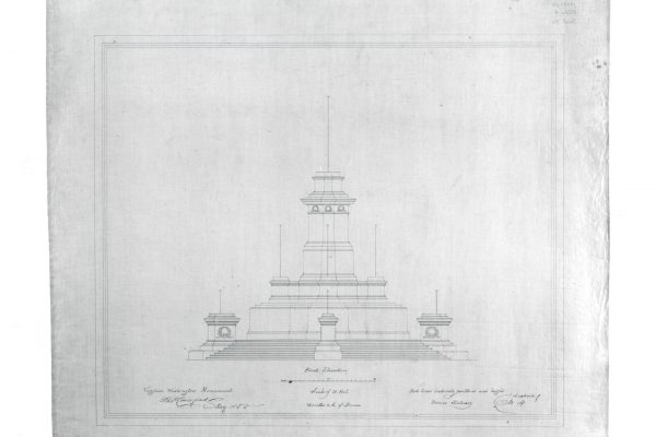 Architectural drawing by Thomas Crawford showing the front elevation of the pedestal for his proposed George Washington Monument.